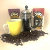 chino filter coffee yellow mug